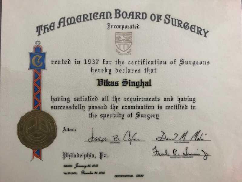 Dr Vikas Singhal Certificate