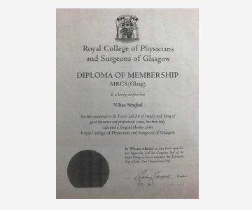 Dr Vikas Singhal- Certificate