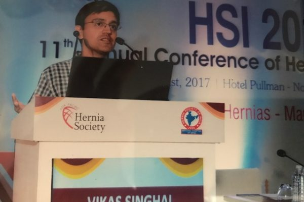 Delivering talk at Hernia society of India annual meeting